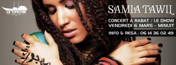 Samia Tawil en concert au Maroc au Dhow à Rabat